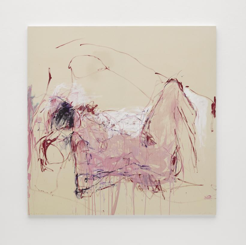 Tracey Emin, It was all too Much, 2018, Acrylic on canvas,182.3 x 182.3 cm