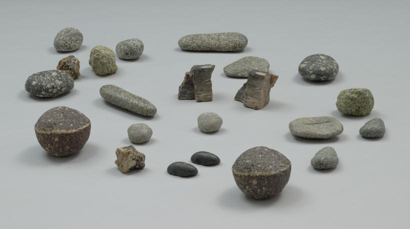 Vija Celmins, To Fix the Image in Memory I-XI, 1977-82; eleven stones and eleven made objects (bronze and acrylic paint)