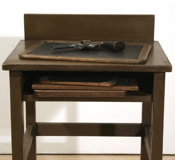 Vija Celmins, Table with Gun, 2009-10; three found tablets and three made objects (wood, bronze, acrylic paint, alkyd oil, and pastel)