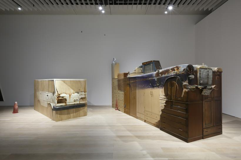 Mending, Substitution, Consolidation, Serial Arrangement, 'Restoration of a Mercedes-Benz', Tokyo / Miyagi (A car buried in the ground of the Satohama Shell Mound in Okumatsushima), 2018, et al., Installation view: Roppongi Crossi