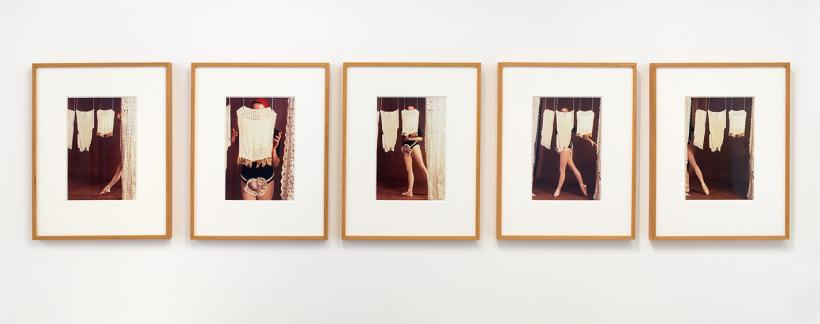 Rose English, Study for A Divertissement: Diana and Porcelain Lace Veil, 1973, Set of 5 cibachrome photographs, 30 x 21.5 cm each