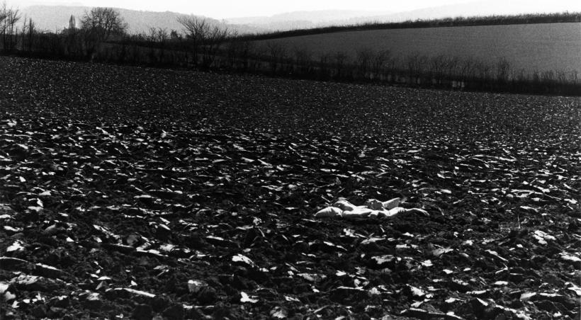 Rose English, Bed in Field, 1971, Set of gelatin silver prints, Dimensions variable