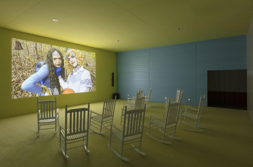 Exhibition view of Lizzie Fitch | Ryan Trecartin: Whether Line, Fondazione Prada, 2019