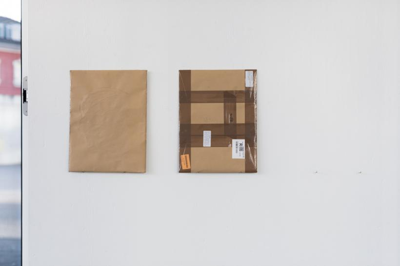 Wil Murray, Well Eel 1 & 2. Acrylic Paint, Kraft Paper, Mylar, Lighting Gel, Svema 64 Black and White Negative, Card, Masking Tape, Packing Tape. 41 x 31 cm each.
