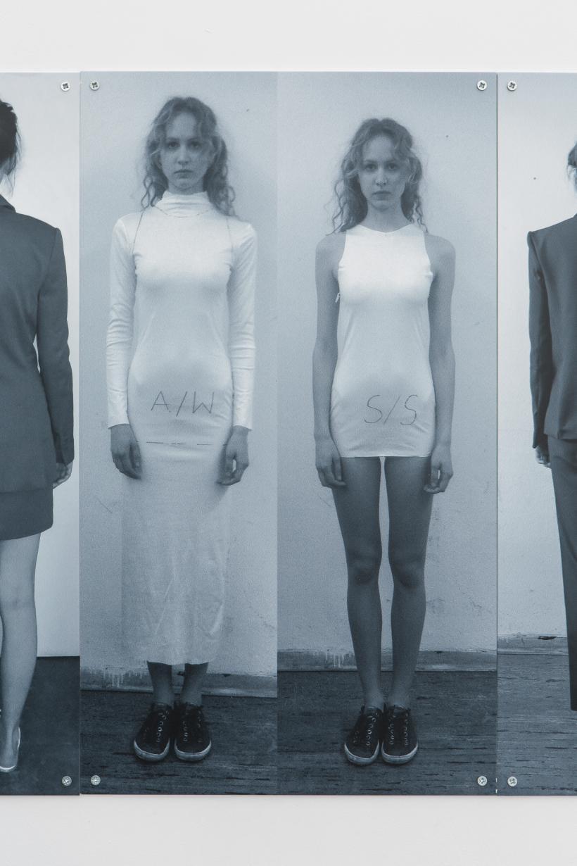 Fashion is Fast (Fitting 2013) 2, 2019, Anna-Sophie Berger, UV Print on aluminium, 50 x 45cm