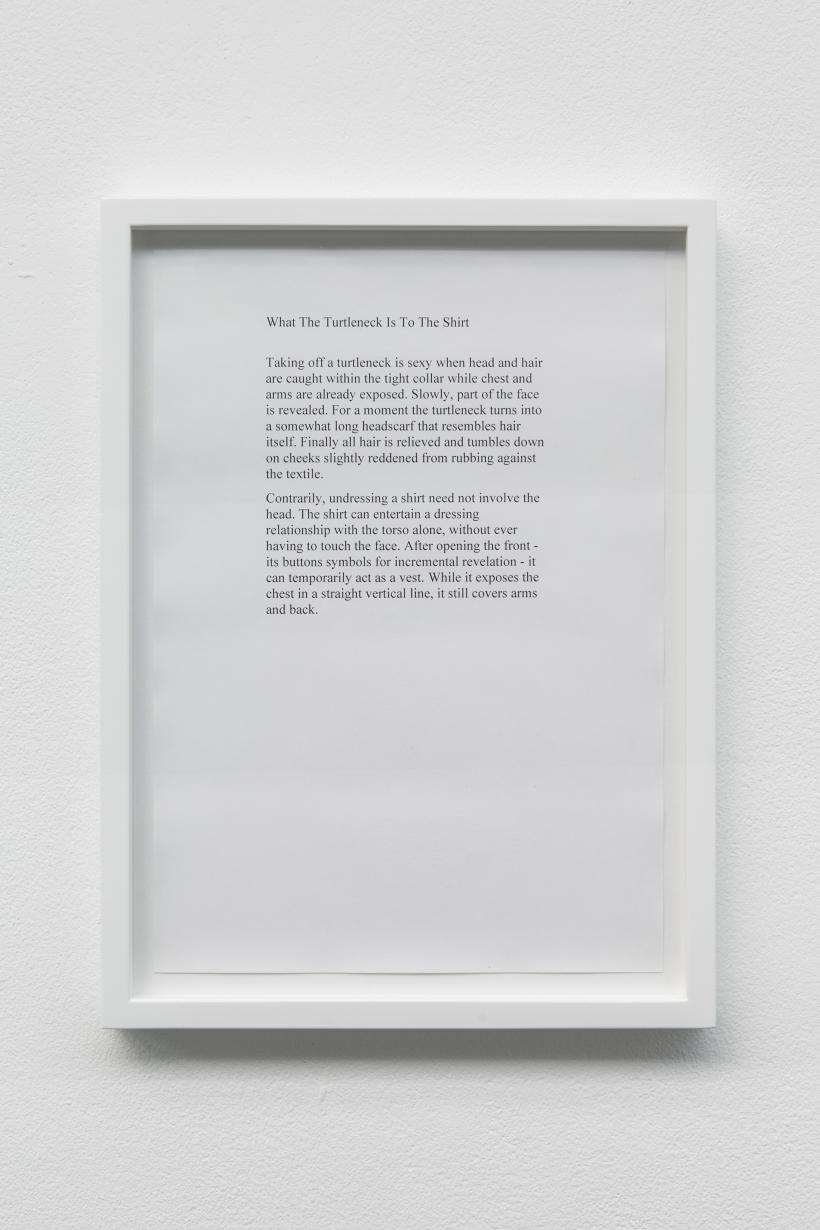 What The Turtleneck Is To The Shirt, 2019, Anna-Sophie Berger, Framed A4 inkjet print, 34 x 25cm