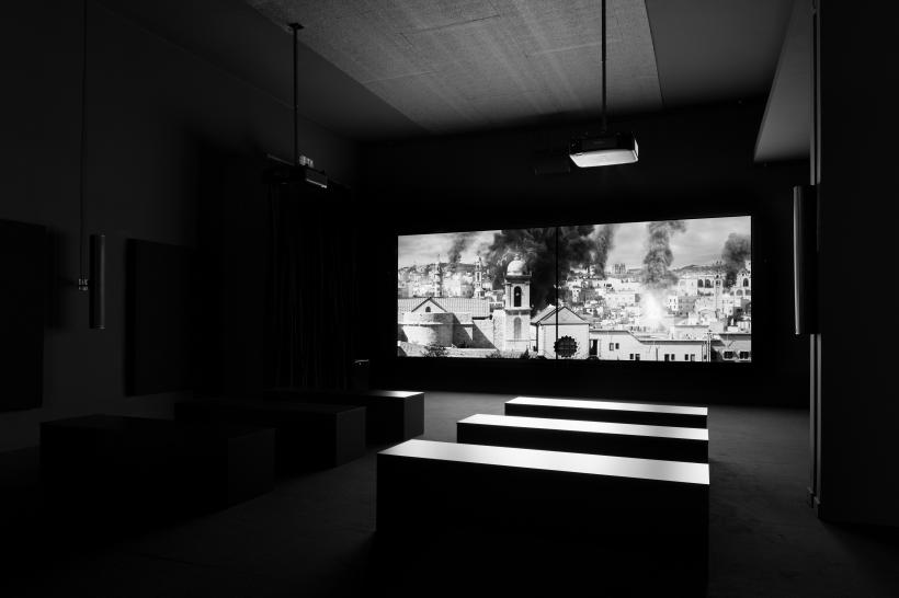 Larissa Sansour and Søren Lind. Installation view of In Vitro, 2-channel black and white film. 27 mins 44 secs, 2019.