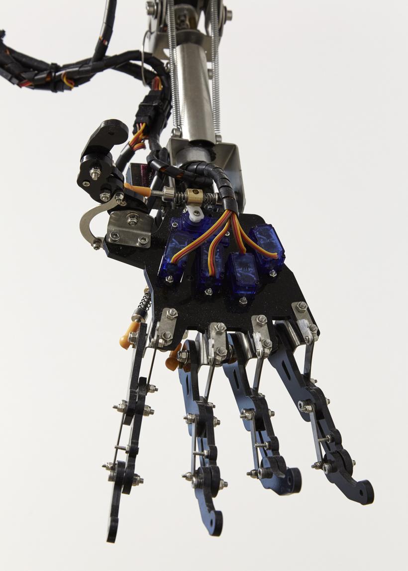 Celestial Machines Drop ceiling, Light panel, Screen, Video, Robotic arm, Arduino, Raspberry pi and Circuitry 130 x 130 x 95cm, 2019