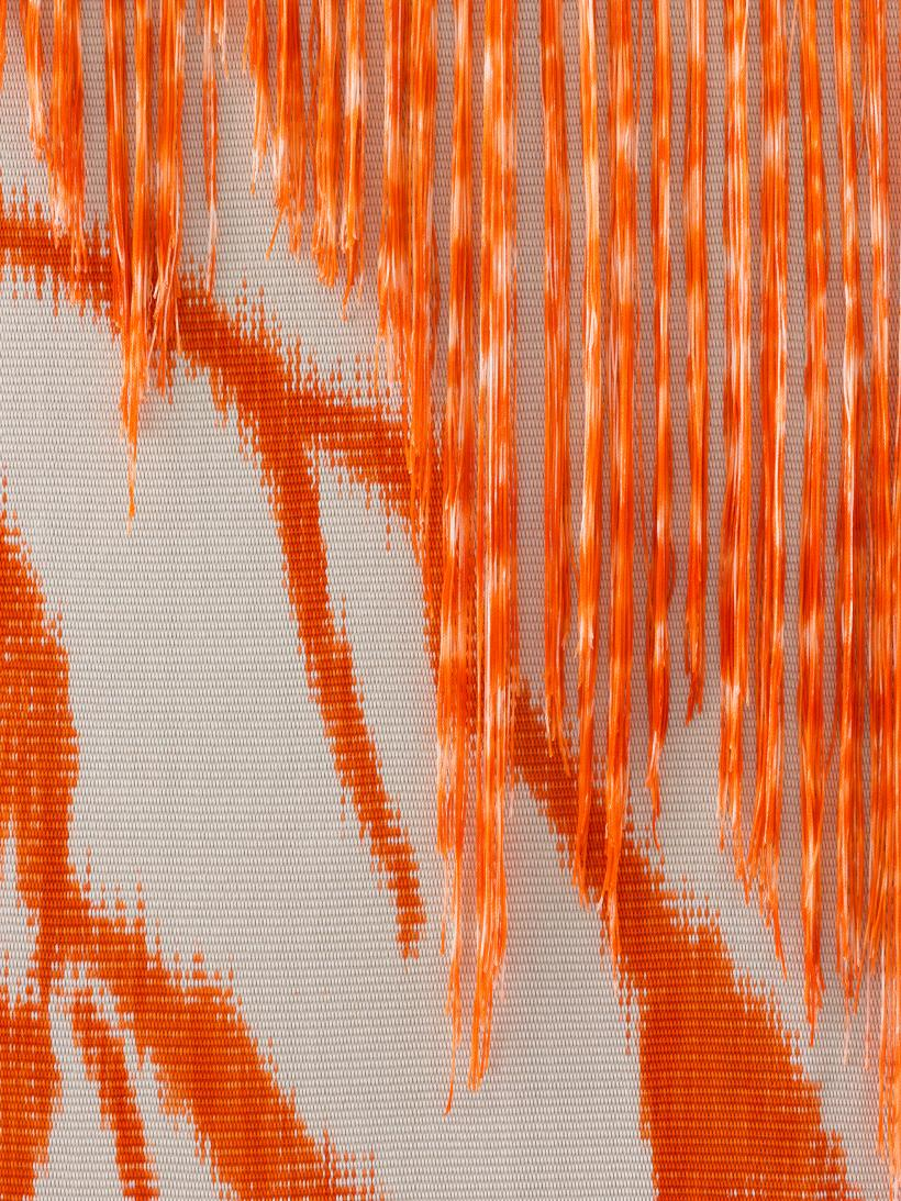 Mark Corfield-Moore, Celestial Meteors, 2019 (detail). Dyed Warp, handwoven cotton in oak frame.