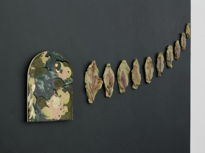 Bethan Lloyd Worthington, Window , 2019.Stoneware with chrome, glaze, onglaze painting, gold; and Rustlings, 2019 . Stoneware with slip, manganese dendritic mochaware technique.