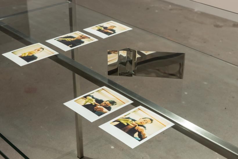 Untitled, 1 of 6 pieces of jewelry; Prelude I. and II. aus Seduction series, 1998, 5 of 8 polaroids; installation view of the exhibition, KW Institute for Contemporary Art, Berlin, 2019