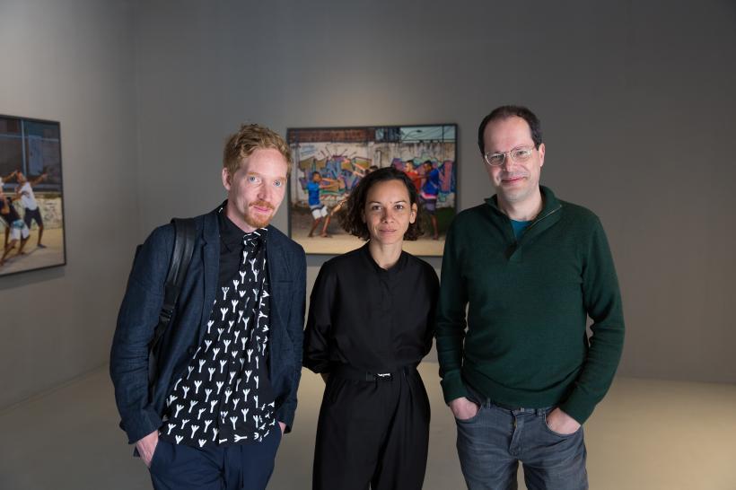 Artist Benjam in de Burca (left), artist Barbara Wagner and curator of the Brazilian Pavilion at the 58th International Art Exhibition Biennale Arte 2019 Gabriel Perez - Barreiro.