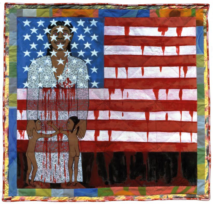 Faith Ringgold, The Flag is Bleeding #2 (American Collection #6), 1997. Acrylic on canvas, painted and pieced border 193 x 200.7 cm