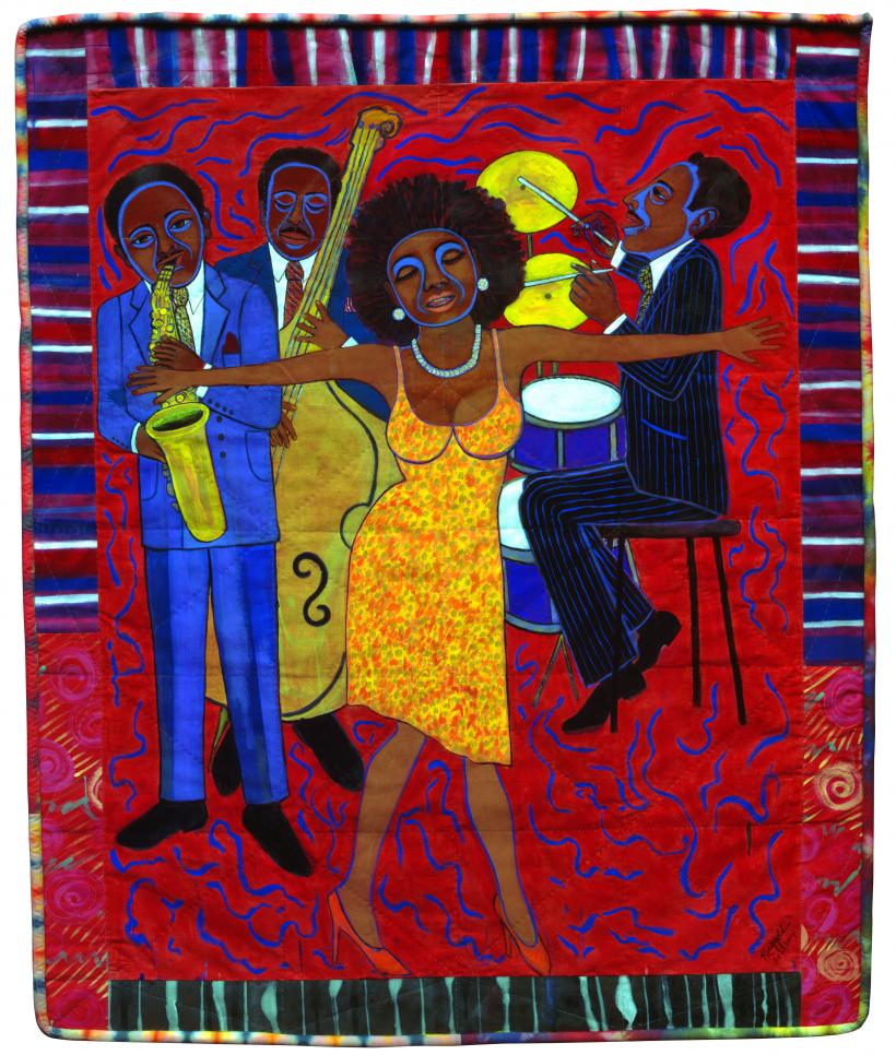 Faith Ringgold, Jazz Stories: Mama Can Sing, Papa Can Blow #1: Somebody Stole My Broken Heart, 2004, Acrylic on canvas with pieced fabric border
