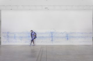 Installation view of Donna Huanca: OBSIDIAN LADDER.