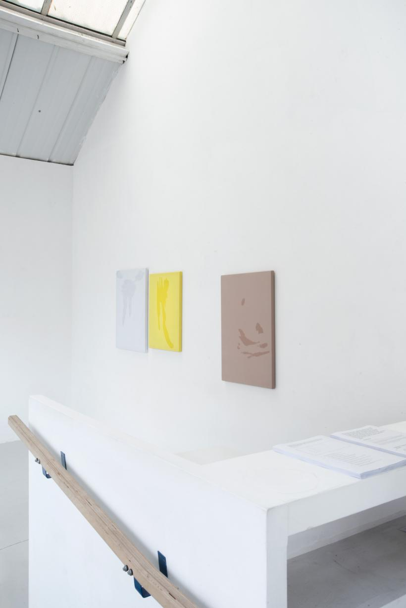 Broke (sweat painting), infra (sweat painting) and careful (sweat painting), installation view, alex farrar, bloc projects, 2019