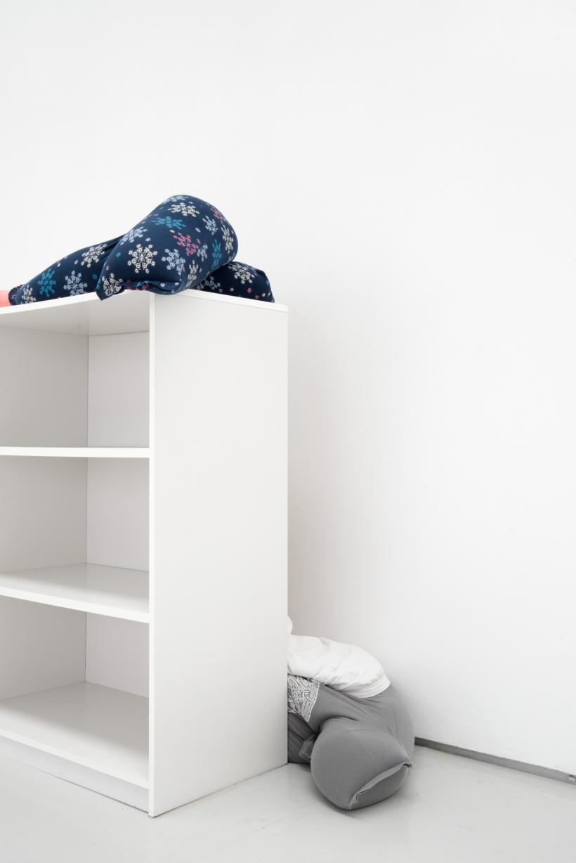 Collapse, slide, bottom-out beside low on a bookshelf, alex farrar, bloc projects, 2019, 3