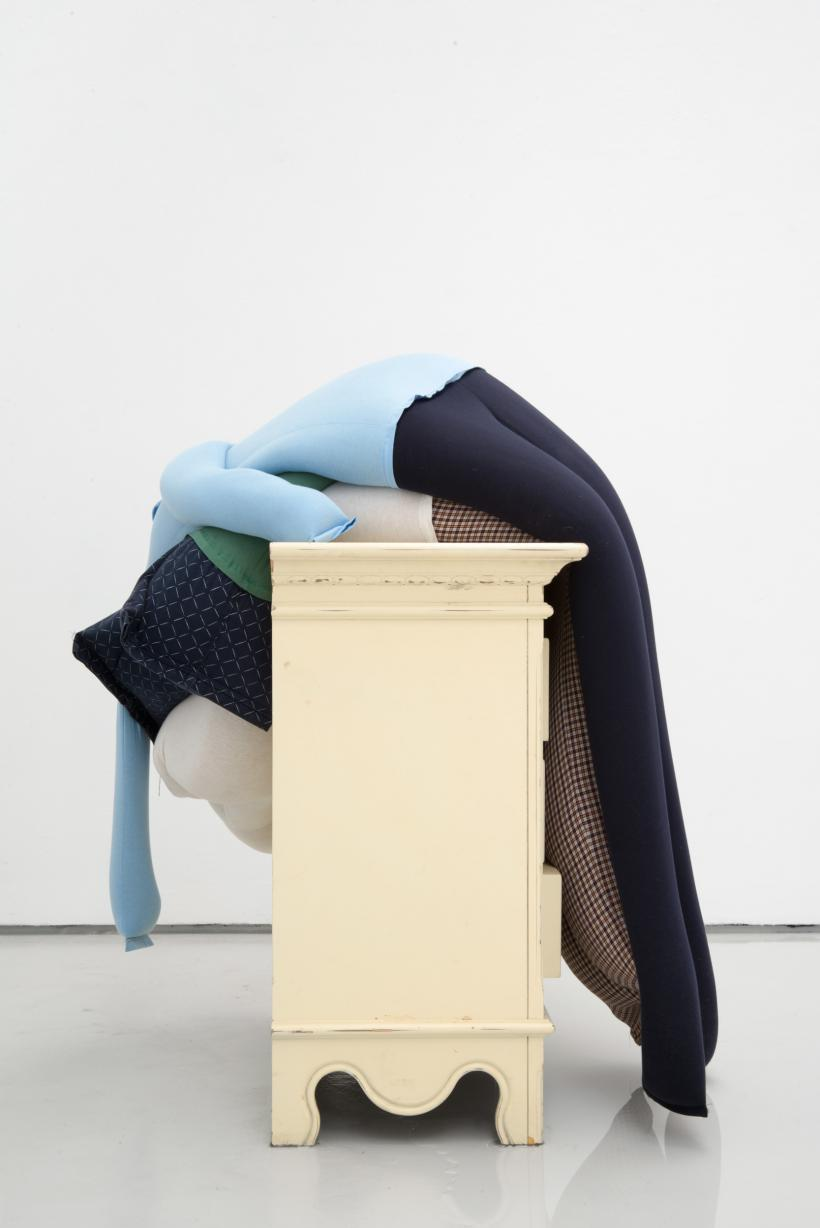 Dip, crash, flat on a chest of drawers partially in water, alex farrar, bloc projects, 2019, 1