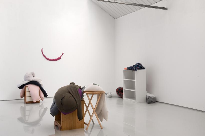Fall, slump, drop on a bedside cabinet in water..., installation view, alex farrar, bloc projects, 2019, 1
