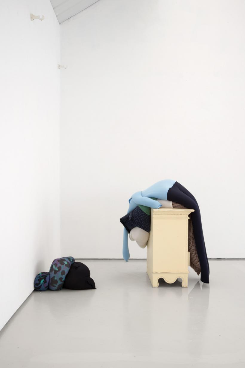 Fall, slump, drop on a bedside cabinet in water..., installation view, alex farrar, bloc projects, 2019, 8