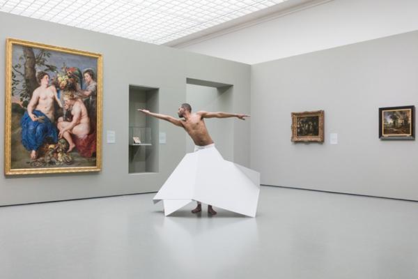 "Jimmy Robert, Metallica, 2018. Garage Rotterdam, exhibition ""Prosecute my Posture"",""Brandstof on location"" performance, Museum Boijmans Van Beuningen. Photo: Florian Braakman. Courtesy of the artist, Tanya Leighton, Berl"