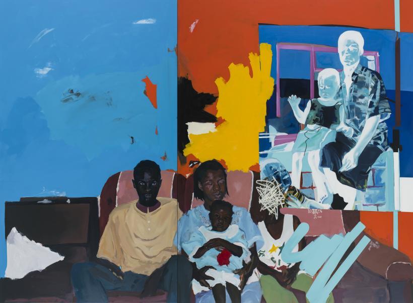 Kudzanai-Violet Hwami, Family Portrait, 2017 acrylic and oil on canvas 2 panels.
