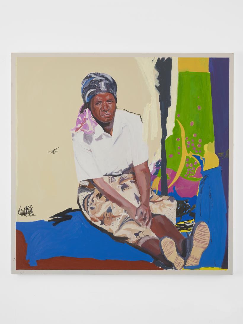 Kudzanai-Violet Hwami, Sitting by Sekuru's grave, 2019. Oil on canvas. 120 x 120 cm.