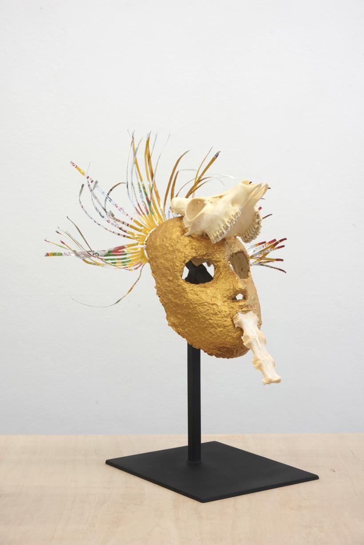 Joanna Rajkowska, Mask with Roe Deer's Skull and Spine, 2019 Papier-mâché, fox skull, beer can 43 x 39 x 22 cm