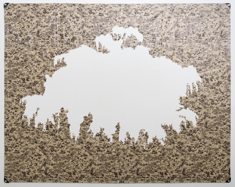 Sofia Cordova, Cherry Tree Observation Fee (Holiday in Fukushima), 2017, digital desert camo tarp, tape, clay, clay pigment, acrylic paint, paper, frame