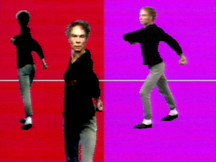 Merce by Merce by Paik: Part One: Blue Studio: Five Segments. 1975-1976 Single-channel videotape, colour, sound. 15min, 38sec. Part of Merce by Merce by Nam June Paik. In collaboration with Charles Atlas, Merce Cunningham, and Shigeko Kubota.