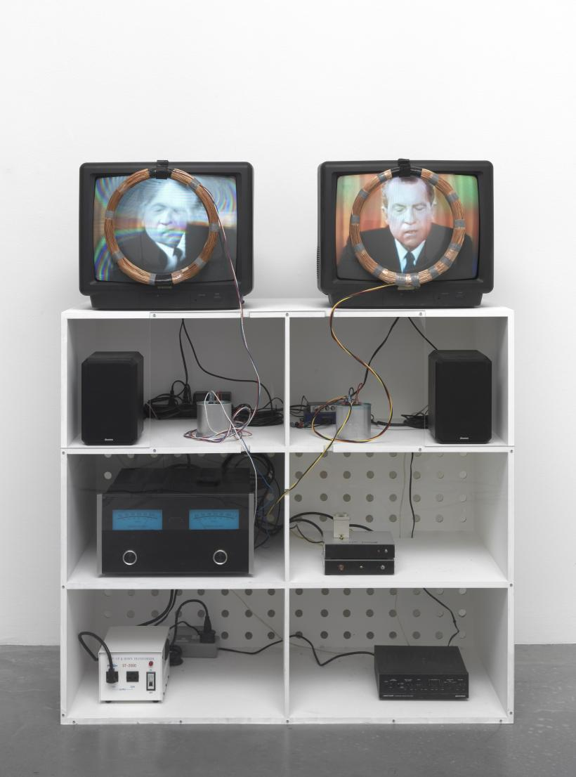 Nixon, 1965-2002, Video, 2 monitors, black and white and colour, sound and magnetic coils. 10min, 51sec