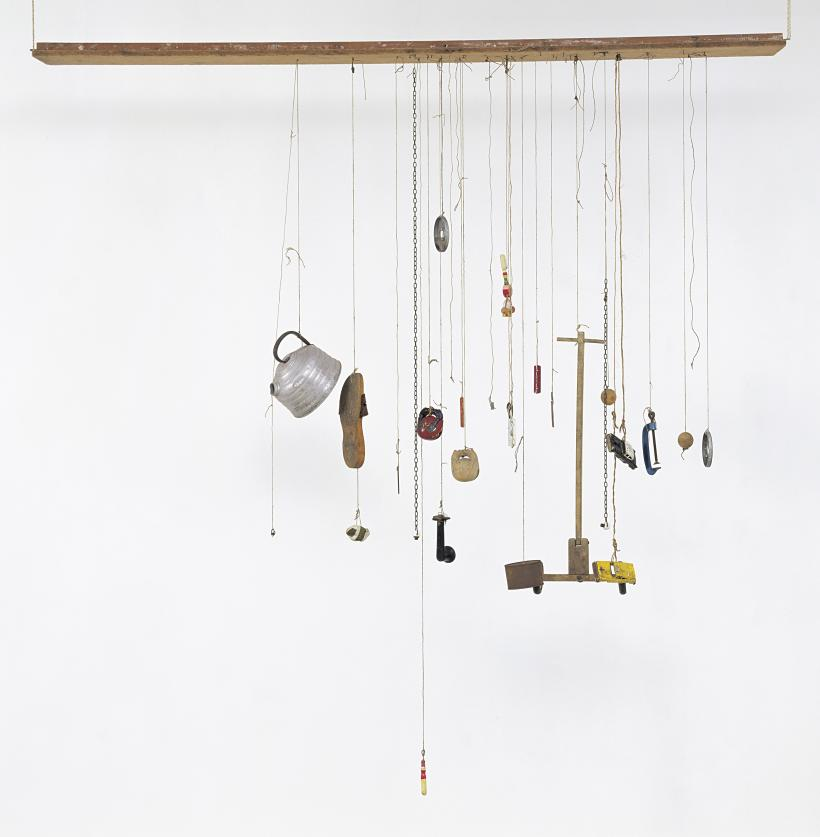 Zen for Wind. 1963 Thirty objects hanging on strings tied to a wooden board: wood, aluminium, iron, steel, leather, stones, tape, porcelain, hemp, sisal string, paint