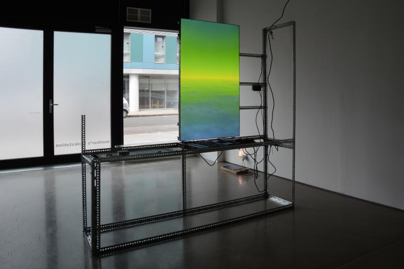 Yuri Pattison, installation view, to do, doing, d̶o̶n̶e̶, mother's tankstation London, sun[set] provisioning, 2019