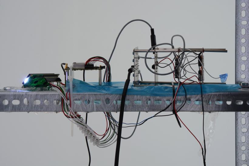 Yuri Pattison, installation view, to do, doing, d̶o̶n̶e̶, mother's tankstation London, true time master (detail), 2019