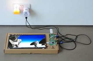 Yuri Pattison, installation view, to do, doing, d̶o̶n̶e̶, mother's tankstation London, Chip Scale Atomic Clock promotional video (Super SloMo waifu2x rework), padlock nightlights