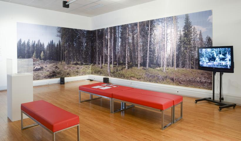 Installation view featuring work by Art & Language (l), Jonny Bark (c) and Fred Hubble (l)