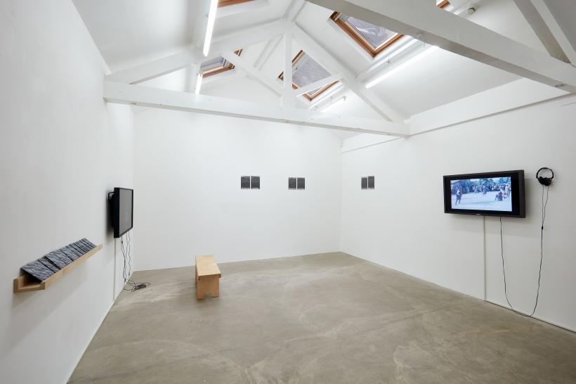 away, completely; denigrate (installation view)