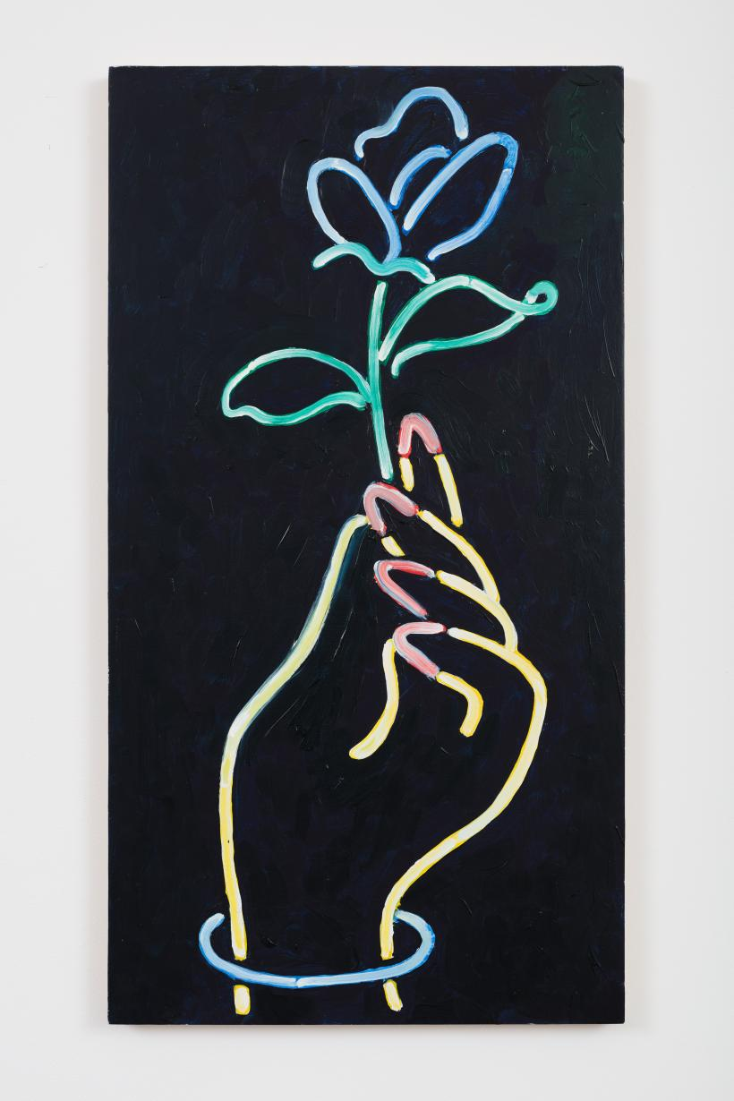 Milly Thompson, Neon Nails, 2016, Oil on board, 60 × 33 cm