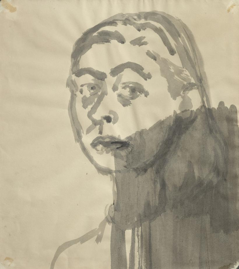 Celia Paul, Self-Portrait, 1983, Ink on paper, 55 x 50.5 cm