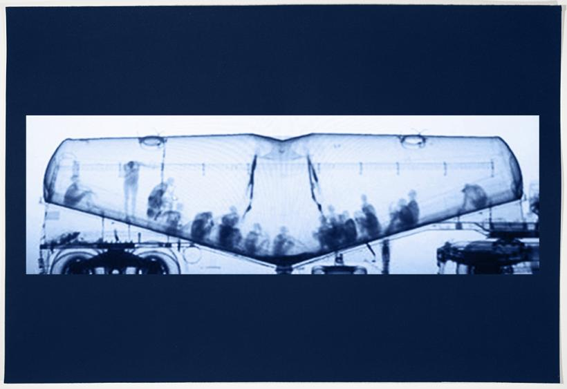 Noelle Mason, Backscatter Blueprint (Man at the Crossroads) from the series X-Ray Vision vs Invisibility, 2018, Cyanotype, 38 cm x 55 cm