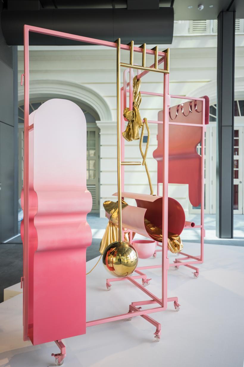 Jen Liu, Pink Slime Caesar Shift  Gold Edition, 2019 (installation detail)