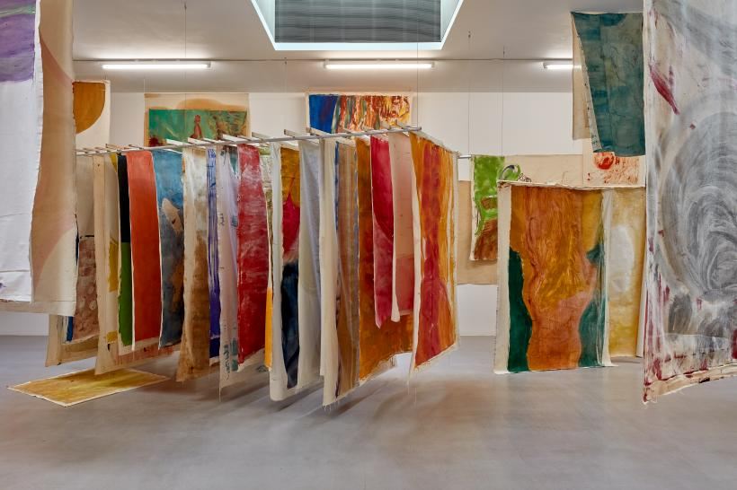 Vivian Suter, Tintin's Sofa, installation view, Camden Arts Centre.