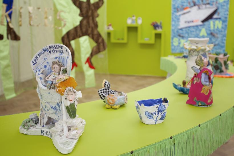 Lindsey Mendick: Regrets, I've Had A Few, 2019. Mixed media installation including: ceramics, paint and fabric.