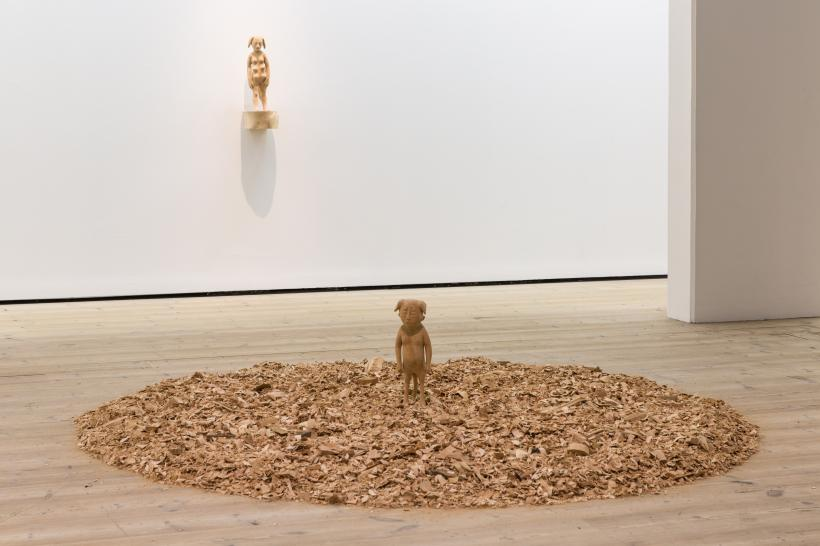 Paloma Varga, Weisz Kampfund [Fighting Dog], 2000 and Lazlo's dream, 2016. Courtesy the artist. Animalesque / Art Across Species and Beings, BALTIC Centre for Contemporary Art 2019.