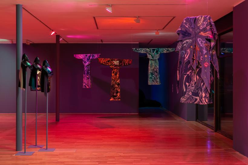 Installation shot : Zadie Xa, Child of Magohalmi and the Echos of Creation, 2020, co-commissioned by Art Night, London; YARAT Contemporary Art Space, Baku; Tramway, Glasgow, and De La Warr Pavilion, Bexhill-on-Sea.