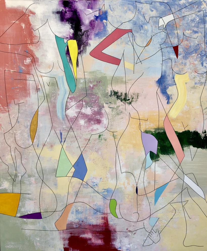 Keelin Montzingo, Revel, 183 x 153cm, acrylic on canvas, 2019
