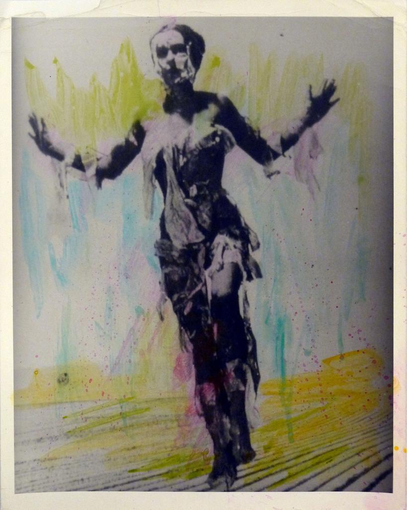 Carolee Schneemann, Illinois Central Collage, 1967/79. Hand coloured digital print. Photo of Body Collage: Fred McDarrah. Photo of landscape: Art Sinsabaugh. 42.55 x 34.93 cm