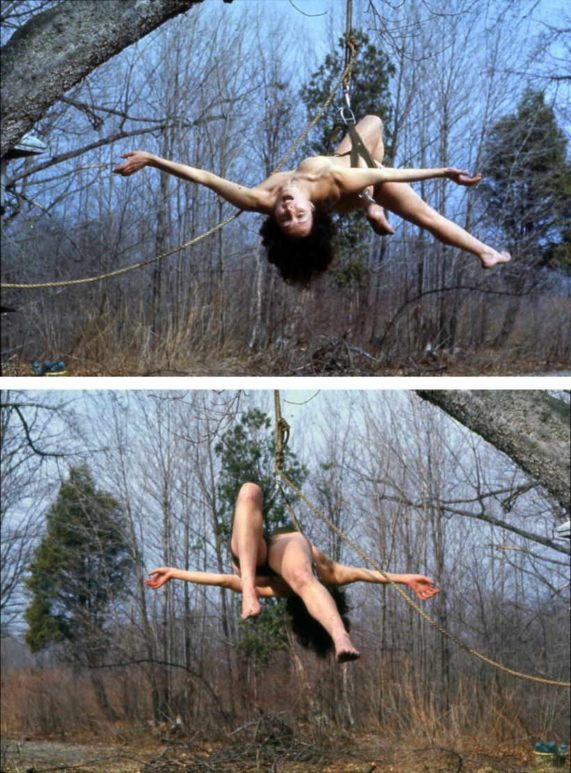 Carolee Schneemann, Study for Up to and Including Her Limits , 1973. Colour photograph. Photo credit: Anthony McCall, 12.7 x 8.89 cm