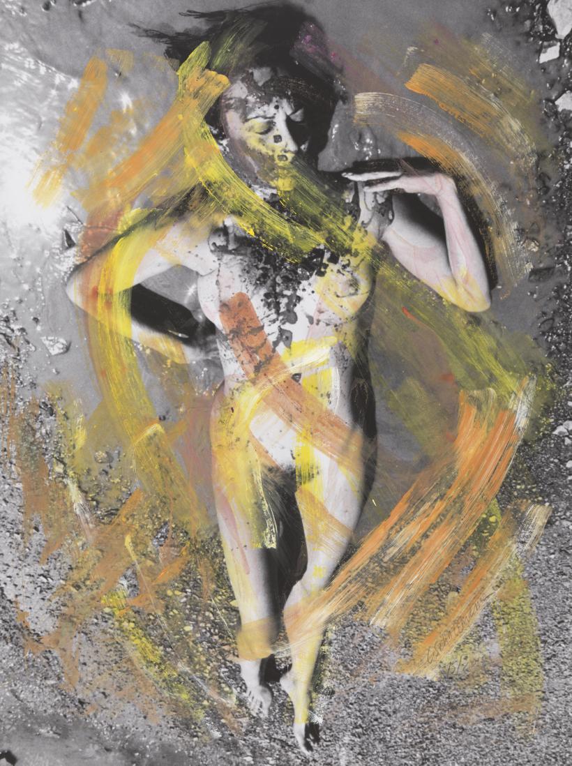 Carolee Schneemann, Evaporation - Noon, 1974 / 2017-18. Hand-coloured inkjet print, 96.5 x 71.1 cm
