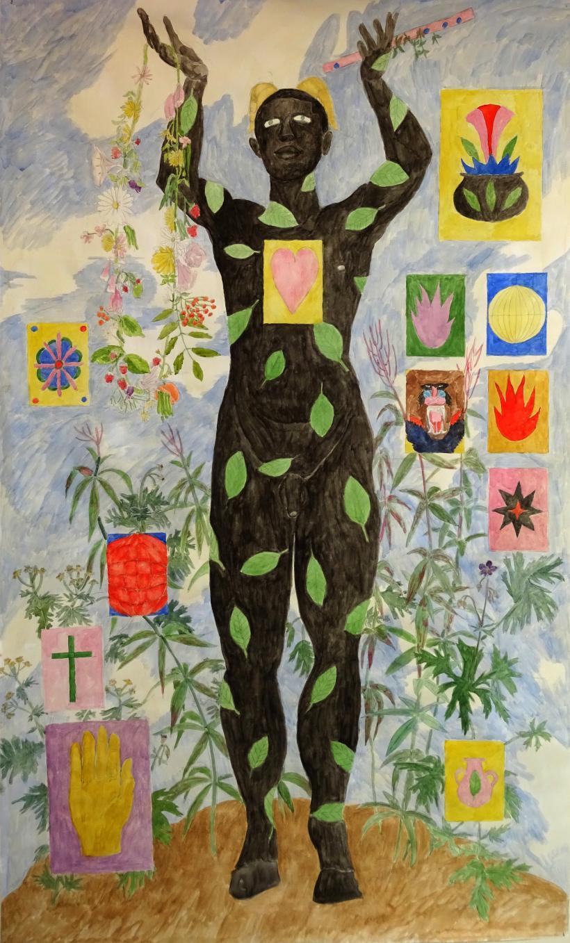 Leo Robinson, Black Faun, 2020, pencil and watercolour on paper